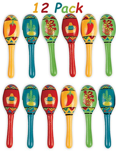 Mini Wooden Maracas Mexican Fiesta Cinco de Mayo Party Favor, Great for Decorations, Noisemaker Toys, 4 Different Styles, Bright Colors, Pack of 12, 5