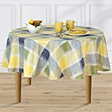 Harmony Plaid Flannel Backed Indoor Outdoor Vinyl Table Linens, 60-Inch Round, Blue