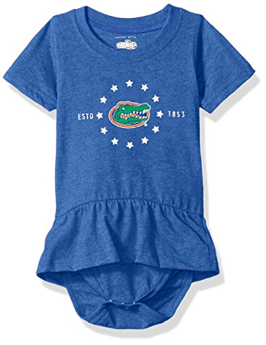 NCAA Florida Gators Children Girls Short sleeve Ruffle Onesie,12M,Blue Moon Blend