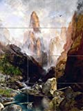 Landscape Mist in Kanab Canyon by Thomas Moran Tile Mural Kitchen Bathroom Wall Backsplash Behind Stove Range Sink Splashback 3x4 8'' Ceramic, Matte