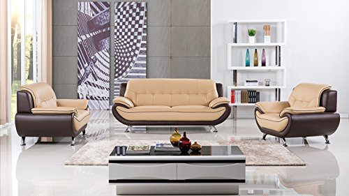 American Eagle Furniture Georgiana Collection Ultra Modern Living Room Leather Upholstered 3 Piece Sofa Set With Pillow Top Armrests and Tufting and Splayed Legs, Yellow/Brown