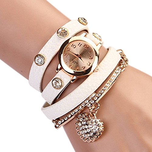 Women's Fashion Rhinstone Faux Leather Wrap Bracelet Quartz Watch with Heart Pendant (White)