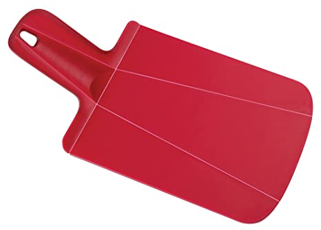 Joseph Joseph 60052 Chop2Pot Foldable Plastic Cutting Board 12.5-inch x 6.5-inch Chopping Board Kitchen Prep Mat with Non-Slip Feet 3.5-inch Handle Dishwasher Safe Lays Flat Folds Up, Mini, Red
