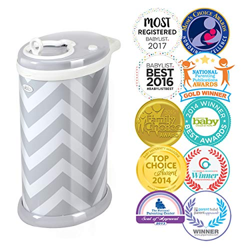 Ubbi Money Saving, No Special Bag Required, Steel Odor Locking Diaper Pail, Gray Chevron
