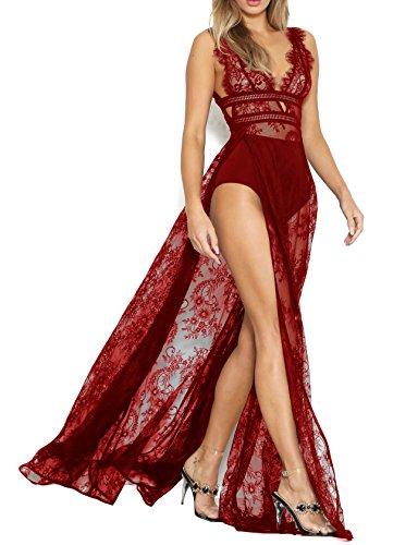 Lungo Vestito Maxi Sexy Sposa Ricamato Tagliate Pura Womens Spaccato Rosso Dell'imbracatura Pizzo Da Adogirl Scollato Abito Cresciuta 0q8p5WxY