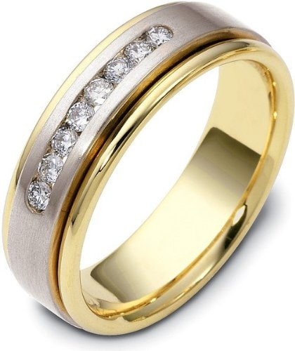 Designer 18 Karat Two-Tone Gold Round Diamond Wedding Band Ring - 12.25