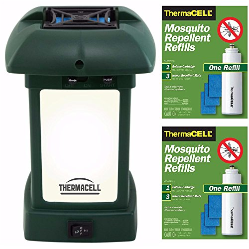 Thermacell MR-9L Outdoor Mosquito Repeller plus Lantern & Two Refill Packs Bundle (6 Mats, 2 Cartridges) (Powered Lantern Away Pack Battery)
