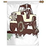 HUANGLING Retro Pop Art Vintage Military Car Jeep On The Road Adventure Graphic Home Flag Garden Flag Demonstrations Flag Family Party Flag Match Flag 27''x37''