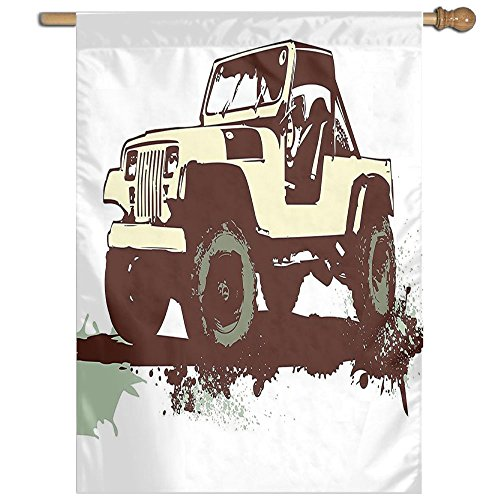 HUANGLING Retro Pop Art Vintage Military Car Jeep On The Road Adventure Graphic Home Flag Garden Flag Demonstrations Flag Family Party Flag Match Flag 27''x37'' by HUANGLING