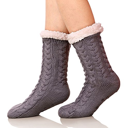 SDBING Women's Winter Super Soft Warm Cozy Fuzzy Fleece-lined Christmas Gift With Grippers Slipper Socks (Dark Gray)