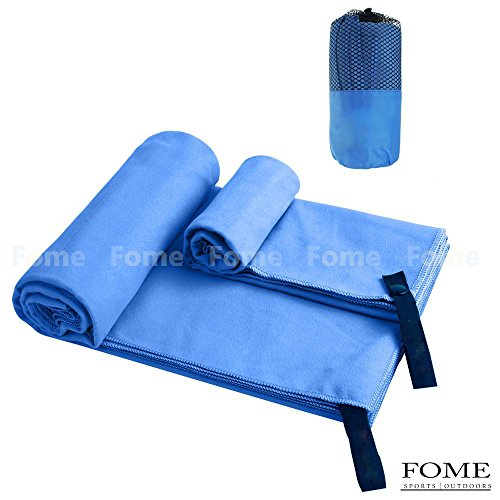 Quick-drying towel ,FOME SPORTS OUTDOORS 2 Pack Microfiber Ultra Absorbent Quick Drying Swimming Bath Towel (51 x 31 inch) with Hand Towel (31 x 15 inch) for Sports Backpacking Beach or Yoga