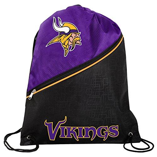 Minnesota Vikings High End Diagonal Zipper Drawstring Backpack Gym Bag