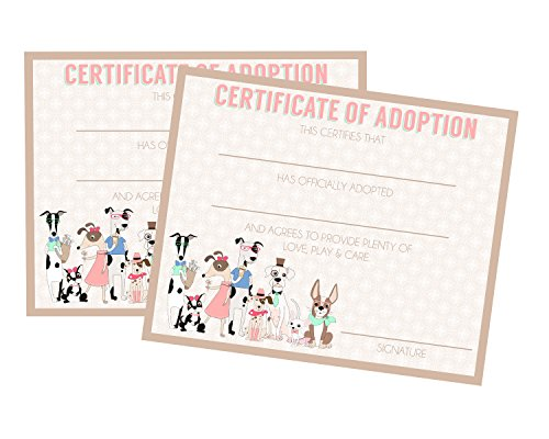Calling All Party Animals Puppy Adoption Party Supply (Adoption Certificate) by Silly Goose Gifts