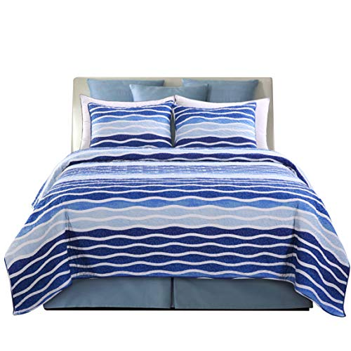 - SLPR Blue Wave 3-Piece Lightweight Printed Quilt Set (Queen) | with 2 Shams Pre-Washed All-Season Machine Washable Bedspread Coverlet