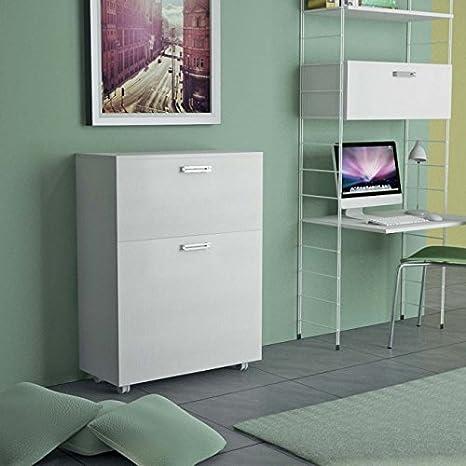 Mueble que se transforma en una cama individual, con somier de láminas de madera y colchón. Modelo Link, color blanco con vetas.