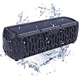 Solar Speaker Outdoor Portable Bluetooth Wireless Waterproof Speaker IPX5 With 5000mAh Power Bank, Dual Speaker With Mic, Superior Stereo Sound with Bass, 60+ Hours Play Time –Black