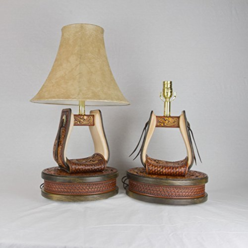 Hand Tooled Leather Stirrup Lamps ( 1 pair ) with Wood Base, Inlayed Leather Stamped Strap featuring Oak Leaves and Acorns (SLWB-001) (Acorn Lamp Base)