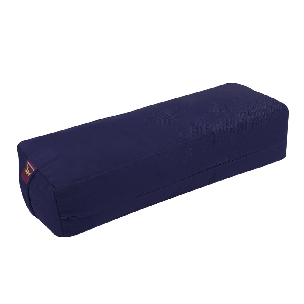 Rectangular Yoga Bolster - Removable Canvas Cover, Natural Cotton Filling by Yogavni(TM) (Blue, Small)