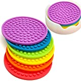 ENKORE Coasters Novelty Set In 6 Rainbow Colors With Translucent Holder - Kids Favorite, Weather Proof Outdoor Tabletop Protection For Table Made of Wood, Granite, Glass, Soapstone, Sandstone, Marble