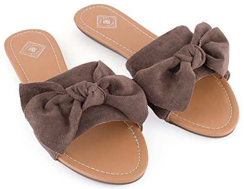 Gallery Seven Womens Slides, Super Cozy Suede Bow Slide Sandals For Women In A Gift Box