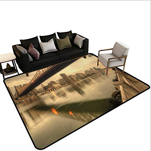 Contemporary Synthetic Rug United States,Queensboro Bridge Spanning The East River in New York City Serene Scenery,Tan Egg Shell,for Living Room Bedrooms Kids Nursery Home Decor 4'x 6'
