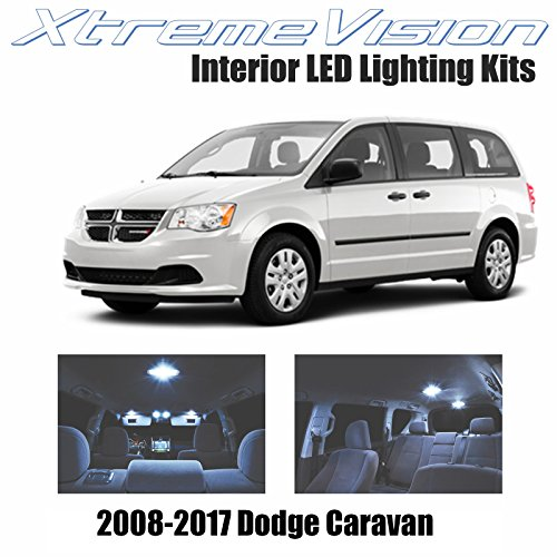 XtremeVision Dodge Grand Caravan 2008-2017 (16 Pieces) Cool White Premium Interior LED Kit Package + Installation Tool