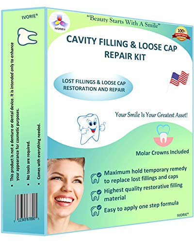 IVORIE Home Dental Restoration Cavity Filling Loose Cap Crown Repair Kit DIY Cavity Filler Dental Tool and Molar Crowns