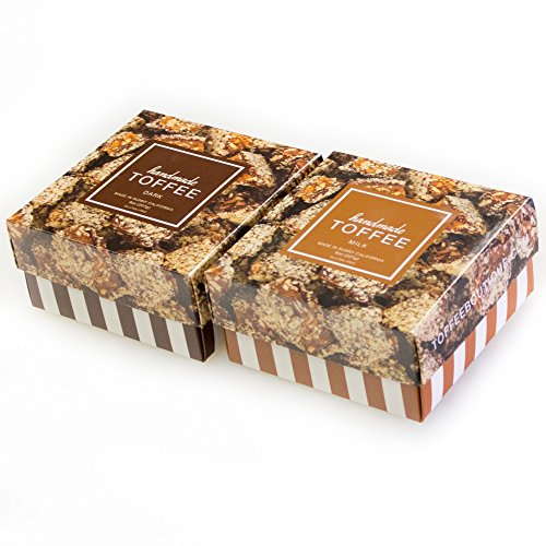 Dark Chocolate Toffee - Toffee Boutique Milk & Dark Chocolate Toffee Combination, 8 Ounce (Pack of 2)