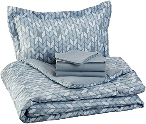 AmazonBasics 5-Piece Bed-In-A-Bag, Twin / Twin Extra-Long Bedding Comforter Sheet Set, Grey Leaf