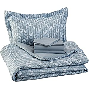 Amazon Basics 5-Piece Light-Weight Microfiber Bed-In-A-Bag Comforter Bedding Set – Twin, Grey Leaf