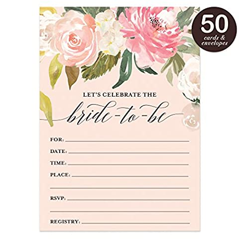 Bridal Shower Invitations with Envelopes ( Pack of 50 ) Beautiful Fill-In Floral Wedding Shower Party Invites Excellent Value Invitations - Lingerie Party Invitation