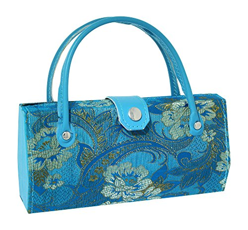 Asian Silk Brocade Style Eyeglass Case Mini Handbag Design Interior Mirror - Eyeglasses Feminine