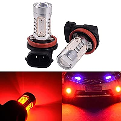 ATMOMO 2 PCS Car H8 H11 33-SMD LED Xenon Head Light Headlight Bulbs Lamp or Daytime Running Lights Lighting DRL 12V 7.5W - Red: Automotive