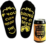 Beer Socks in Beer can, Gift for Men, if You can Read This Bring me a Beer, Fun Gift for Boyfriend Husband on