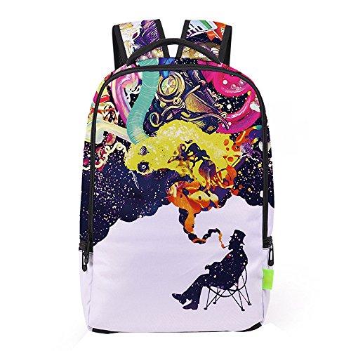School Bag,Han Shi Women Men 3D Galaxy Travel Satchel Stylish Unisex Canvas Book Bag Shoulder School Bag (Multicolour, A)