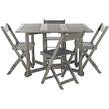 Safavieh Outdoor Living Collection Arvin 5-Piece Dining Set, Ash Grey