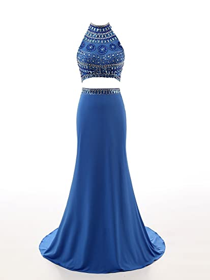 Changjie Womens Beading Two Piece Prom Dresses Long Formal Evening Gown
