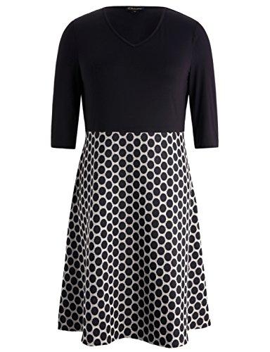 Chicwe Women's V Neck Black Bodice Plus Size Dress With Dot A-Line Skirt Black (Petite V-neck Skirt)