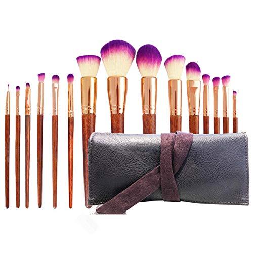 Makeup Brushes Set 15 Piece Wood Handle Kabuki Makeup Brush Face Powder Foundation Blending Eye Shadow Make Up Brushes Kit With Case Christmas Xmas Gift