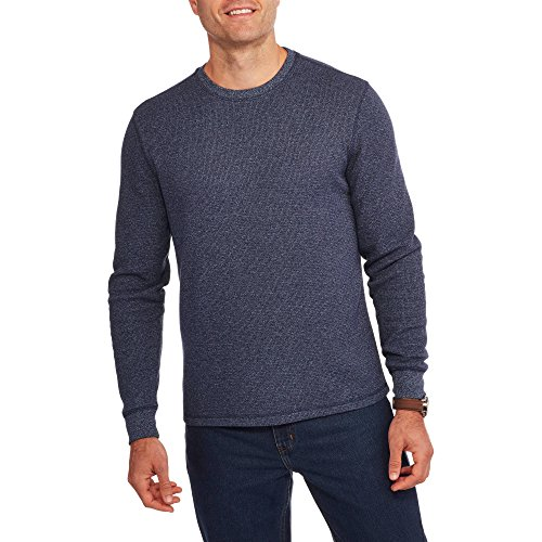 Faded Glory Men's Long Sleeve Waffle Thermal Crew Shirt / Top (M, Navy Marl)
