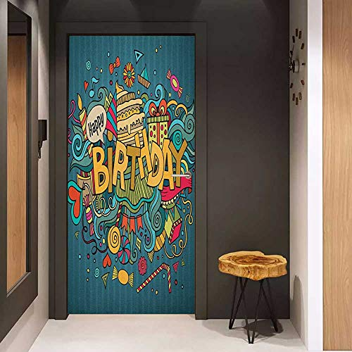 Onefzc Self-Adhesive Wall Murals Birthday Hand Doodle Elements Lettering Happiness Icons Cartoon Art Style Cheering Print Sticker Removable Door Decal W17.1 x H78.7 - Style Flag Cheering