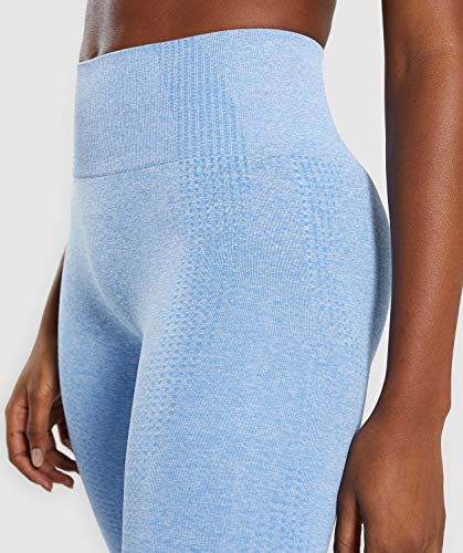 MOYOOGA Seamless Leggings High Waisted Workout Yoga Gym Leggings for Women (Large, Blue Marl)