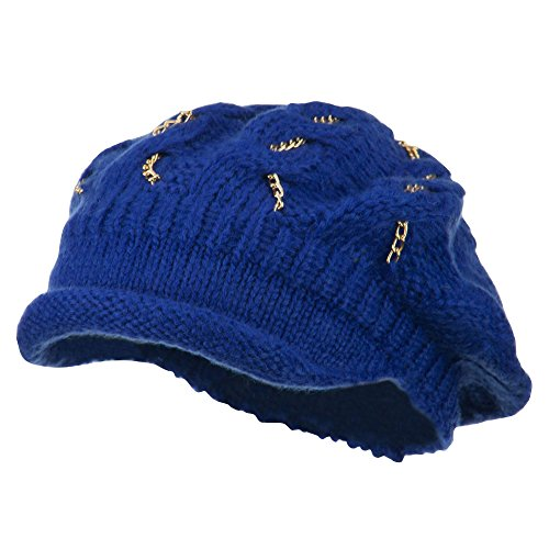 SS/Hat Rolled Brim Tam Beret with Gold Chains - Blue OSFM -