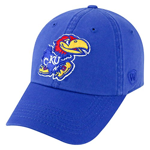 Top of the World NCAA-Cotton Crew-City-Adjustable Strapback-Hat Cap-Kansas Jayhawks-Blue
