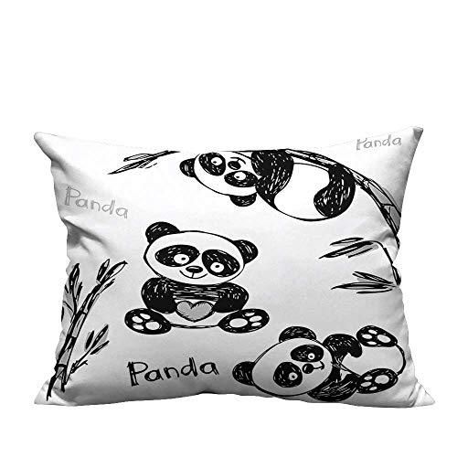 (YouXianHome Print Bed Pillowcases Cheerful Panda in Different Poses with Bamboo Branch Children Painting Art Print Green Washable and Hypoallergenic(Double-Sided Printing) 12x16 inch)