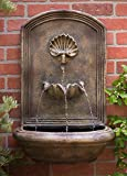 Harmony Fountains The Napoli Outdoor Wall Fountain - Florentine Stone Finish - Water Feature for Garden, Patio and Landscape Enhancement
