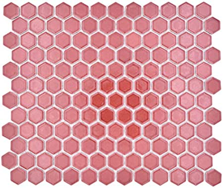 Carrelage Mural Mosaique Hexagonal En Ceramique Rouge Brillant Amazon Fr Bricolage