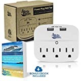 Cruise Power Strip Wall Tap - Non Surge Protector & Cruise Ship Approved - 3 Outlets & 2 USB Charging Ports - Must Have Cruise Essentials - Travel Size & Lightweight - Bonus eBook Included