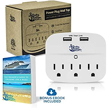 Cruise Power Strip Wall Tap - Non Surge Protector & Cruise Ship Approved -  3 Outlets & 2 USB Charging Ports - Must Have Cruise Essentials - Travel