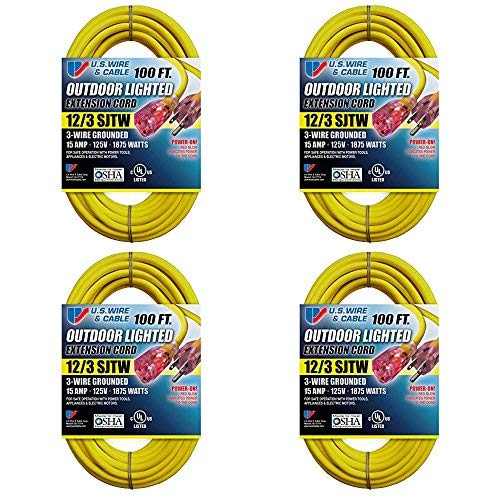 US Wire 12/3 SJTW 100-Foot Outdoor Lighted Extension Cord (Yellow, 4-Pack)